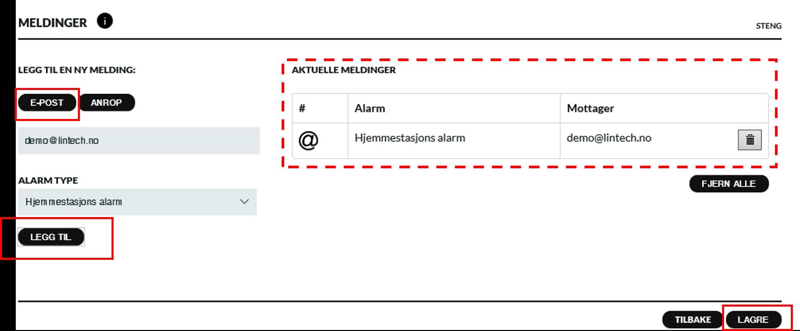 Hjemmestasjon alarm e post varsel 2